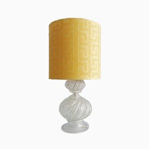 Mid-Century Murano Glass Table Lamp with Yellow Lampshade