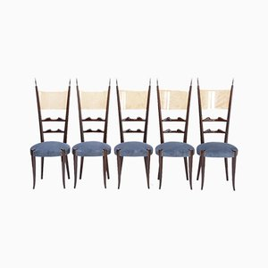 High Back Dining Chairs by Aldo Tura, 1970s, Set of 5