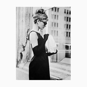 Audrey Hepburn Lunch On Fifth Avenue Silver Gelatin Resin Print Framed In Black by Keystone Features
