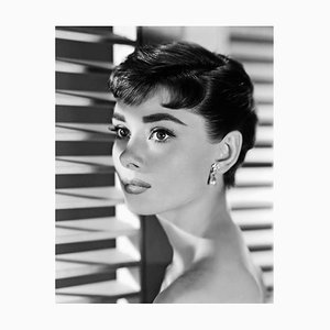 Audrey Hepburn Portrait Archival Pigment Print Framed In White by Alamy Archives