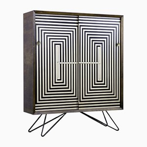 Scandinavian Mid-Century Modern Cabinet with Hand-Painted Pattern, 1960s