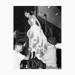 Audrey Hepburn On Set of Sabrina Archival Pigment Print Framed In Black by George Rinhart