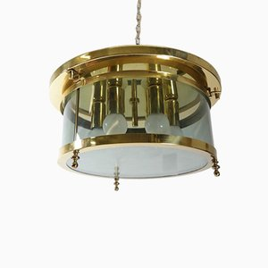 Hollywood Regency Brass and Smoked Glass Ceiling Light from Schröder & Co., 1970s