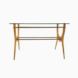 Coffee Table in Wood, Glass & Metal, 1950s