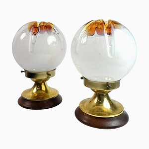 Murano Glass and Wood Table Lamps from Mazzega, 1970s, Set of 2