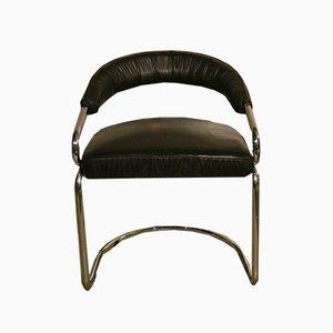 Sedie da pranzo in acciaio e pelle di Giotto Stoppino, anni '70, set di 4