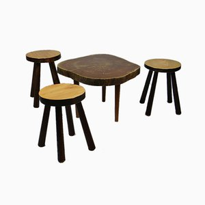 Stools & Coffee Table, 1950s, Set of 4