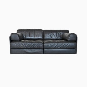 Model DS76 2-Seater Black Leather Sofa from de Sede, 1970s