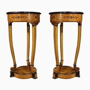 French Inlaid Rosewood Columns, 1960s, Set of 2