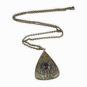 Mid-Century Copper and Brass Necklace and Pendant with Enamel Drop, 1970s