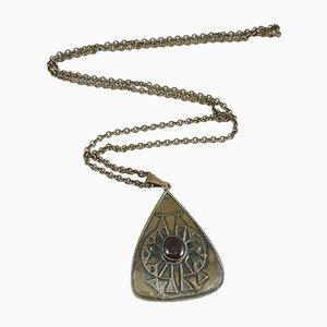 Mid-Century Kupfer und Messing Halskette und Halsketten-Anhänger mit Emaille Tropfen, die 1970er Jahre