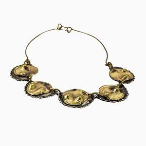 Brutalistische Handgefertigte Messing Halskette, 1970er