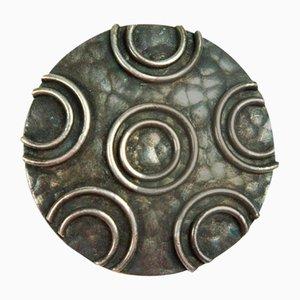 Spilla Mid-Century in ottone placcato in argento, anni '70