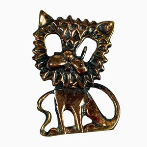 Mid-Century Patinated Copper Brooch of a Lion, 1970s