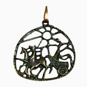 Mid-Century Brass Pendant with Elijah Motive, 1970s