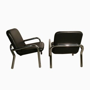 Steel & Faux Leather Lounge Chairs, 1960s, Set of 2