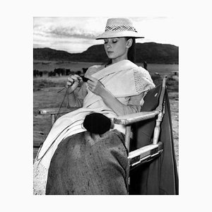 Hepburn Knitting In Mexico Archival Pigment Print Framed In Black by Everett Collection
