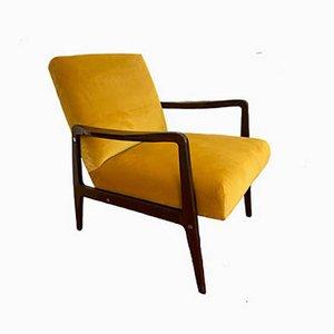Yellow Velvet Upholstered Armchairs, 1960s, Set of 2