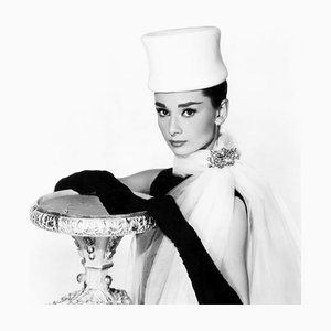 Audrey Hepburn Archival Pigment Print Framed In White by Everett Collection