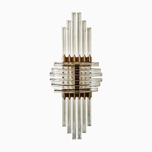 Mid-Century Hollywood Regency Ceiling Lamp with Acrylic Glass Prisms