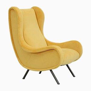 Senior Yellow Velvet Armchair by Marco Zanuso for Arflex, 1951