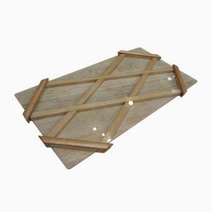 Tablett aus Eiche mit Kreuzlatten & Glas, 1960er