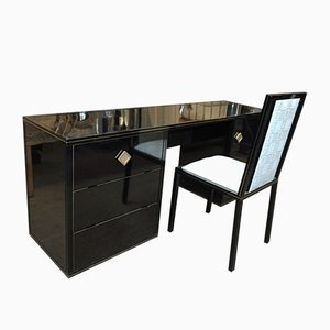 Metal Lacquered Desk & Chair from Pierre Vandel, 1970s, Set of 2