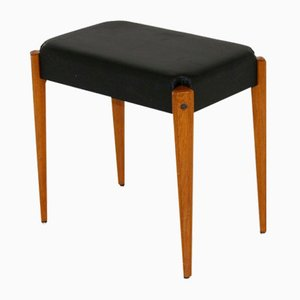 Faux Leather and Teak Ottoman, 1950s
