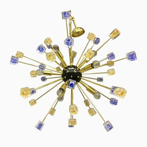24k Gold Colored Sputnik Chandelier from Italian Light Design