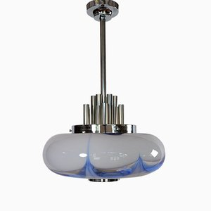 Mid-Century Italian Murano Glass and Chrome Ceiling Pendant, 1970s