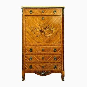 Antiker Louis XV Sekretär aus Eisen mit Intarsien aus Holz