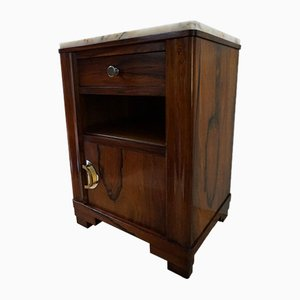 Art Deco Burl Wood Nightstand with Drawer from Julien Vandeleene, 1920s