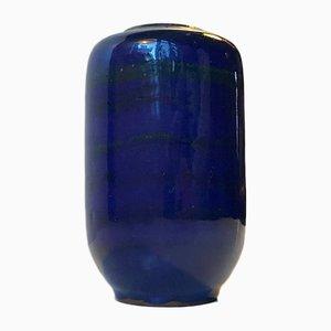 Blau Gestreifte Keramikvase von Gerhard Meisel für Stahnsdorf, 1970er