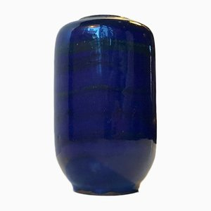 Striped Blue Ceramic Vase by Gerhard Meisel for Stahnsdorf, 1970s