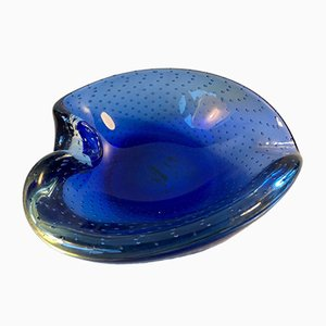 Blue Murano Bubble Glass Ashtray from Seguso, 1950s