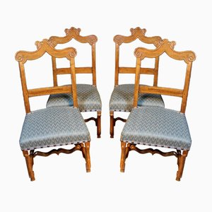 Antique Louis XIII Mahogany Dining Chairs, Set of 4