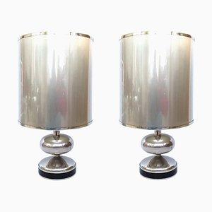 Lampes de Bureau en Chrome, Espagne, 1970s, Set de 2