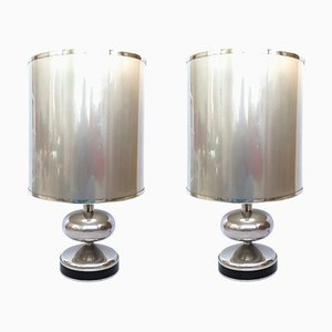 Spanish Chrome Table Lamps, 1970s, Set of 2
