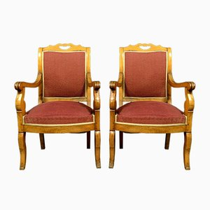 Empire Light Wooden Armchairs, Set of 2