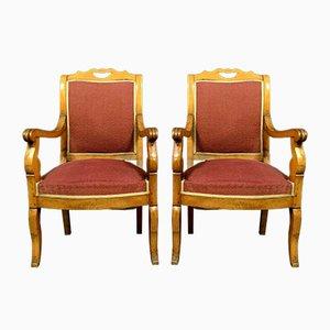 Leichte Empire Sessel aus Holz, 2er Set