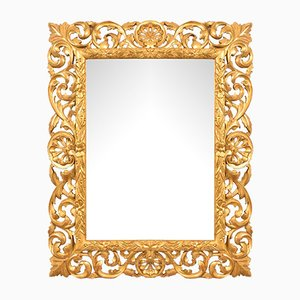 Beveled & Carved Mirror with Gold Leaf Frame, 19th-Century