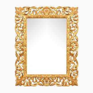 Miroir Biseauté & Sculpté avec Cadre Feuille d'Or, 19ème Siècle