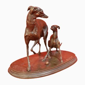Two Bronze Greyhound Dogs by Pierre-Jules Mene, 1810-1879