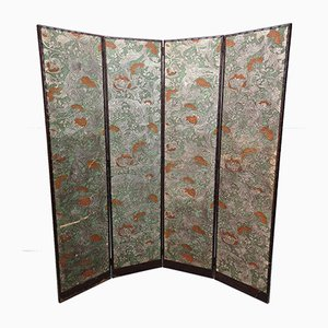 Antique Cordoba Leather Four Panel Folding Screen