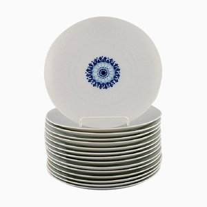 Romanze Lunch Plates in White Porcelain, 1980s, Set of 15