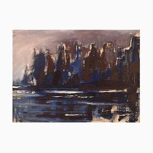 Bertil Carlsson, Sweden, Modernist Landscape, Oil on Board,1964