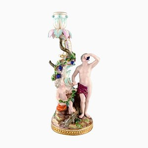 Autumn Figural Candlestick in Hand Painted Porcelain