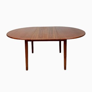 Mid-Century Danish Teak Round Extending Dining Table