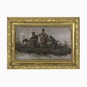 Siebdruck, Romantische Szene, 19. Jahrhundert