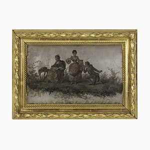 Silk Print, Romantic scene, 19th century